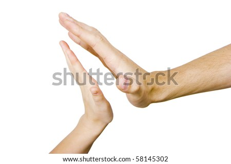 children's and men's hand touching on a white background
