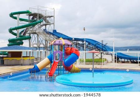 Children's attraction in an aquapark - stock photo