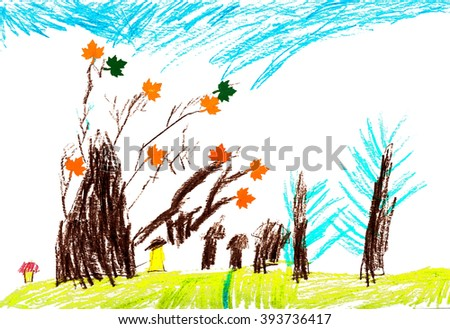 childrens autumn trees drawing pencil application stock illustration