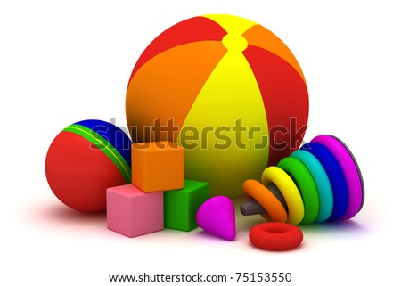 Children's balls, cubes and pyramid isolated - stock photo