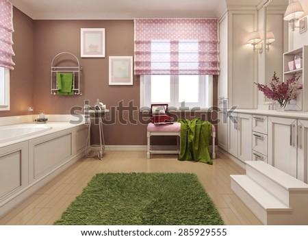 Children's bathroom girl in pink. 3d render - stock photo