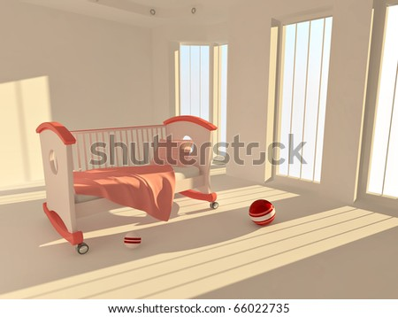 Children's bed in an empty room, lit by sunlight. 3d - stock photo