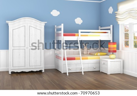 Children's bedroom in blue walls with bunk bed and wardrobe - stock photo