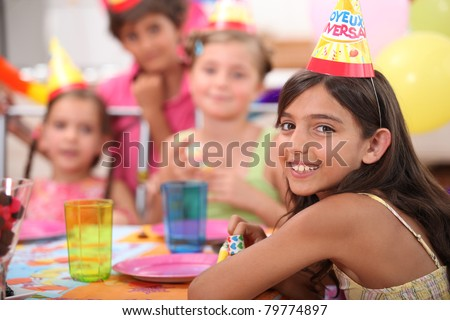 Children's birthday party - stock photo