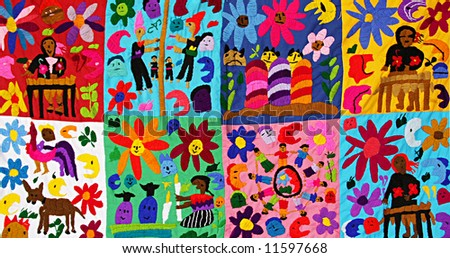 Children's blanket, handmade by natives of the Mayan Riviera, Mexico. - stock photo