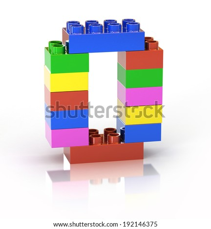 children`s brick toy font letter O - stock photo