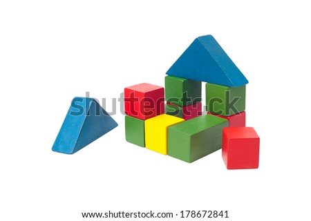 children's building blocks isolated on white - stock photo