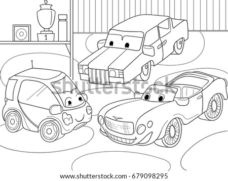 childrens cartoon coloring book for boys raster illustration of a garage with live cars - Coloring Books For Boys