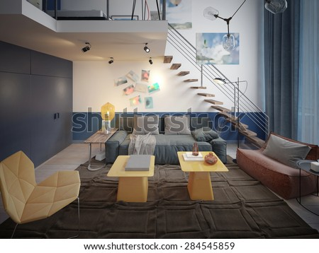 Children's contemporary style. 3d render