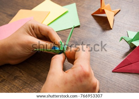 Childrens Creativity Made Of Paper Origami Crafts Handicrafts For Children Handmade Hands