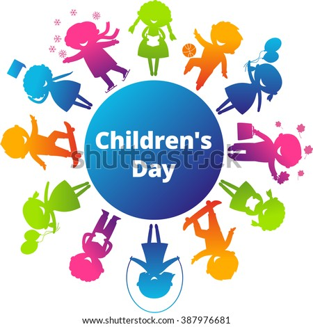 Children's Day concept. Cute children silhouettes around the World. Earth Planet with colored children silhouettes. Children's Day illustration. Children's Day jpeg