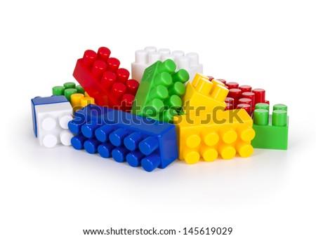 Children's Designer of the bricks. The photo on white background - stock photo
