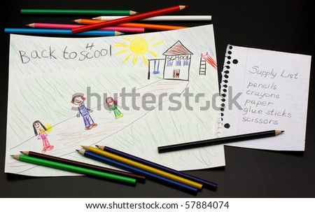 Children's drawing and supply list - stock photo