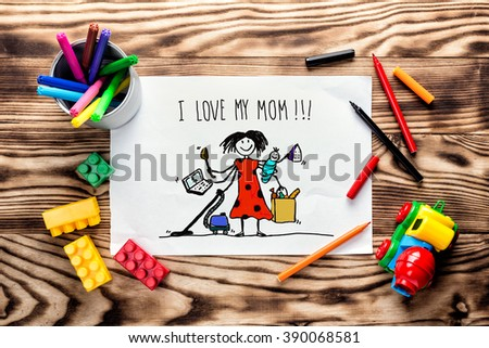 children's drawing greeting card for Mother's Day - stock photo