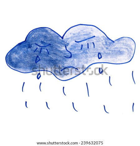 Children's drawing water color cloud, tears cartoon isolated on a white background - stock photo