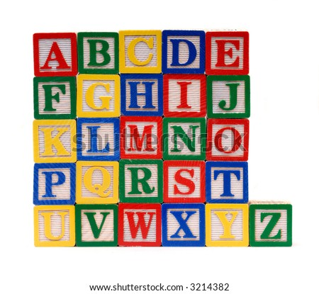 Children's Early Learning Alphabet Building Blocks, Isolated On A White Background - stock photo