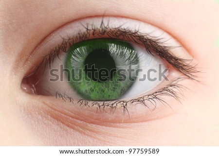 Children's eye closeup - stock photo
