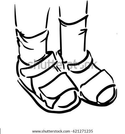 childrens feet in sandals and socks black and white sketch of kids feet simple - Simple Sketch For Kids