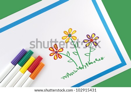 Children's Flower Art - stock photo