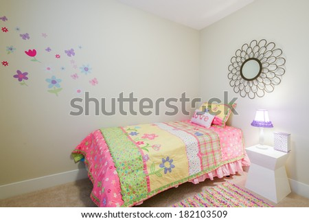 Children's girl's pink princess bedroom playroom. Interior design. - stock photo
