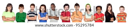 Children?s group with crossed arms isolated on white background - stock photo