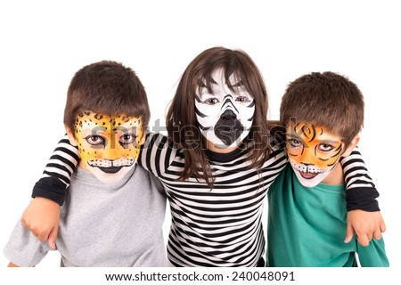 Children's group with face-paint isolated in white - stock photo