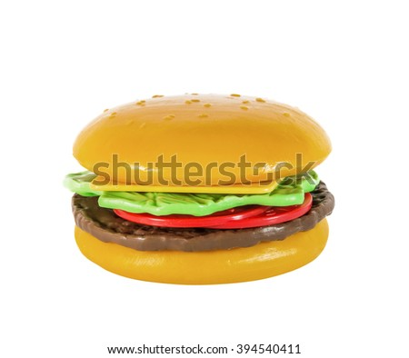 Children's hamburger, cheeseburger, toy plastic, isolated on white - stock photo