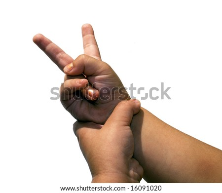 Children's hand allocated on a white background