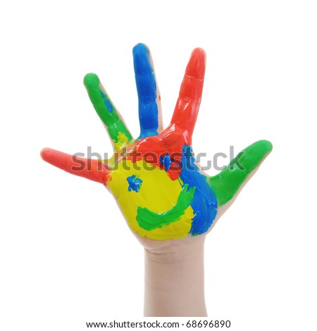 Children's hand in the paint. Isolated on white background - stock photo