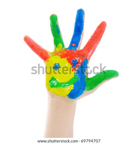 Children's hand in the paint. Isolated on white background