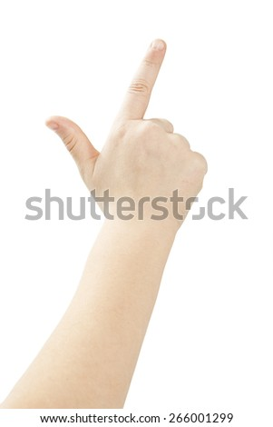 Children's hand. Isolated on white background - stock photo
