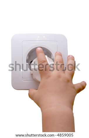 Children's hand symbolizing danger of an electrical current - stock photo