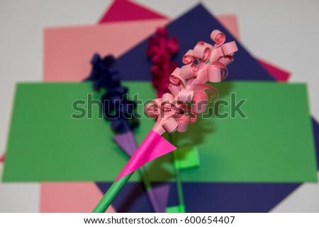 Handicraft paper flowers made colorful paper stock photo 100 legal childrens handicraft paper flowers made of colorful paper and glue rolled up paper mightylinksfo