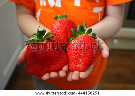 Children's hands hold a strawberry