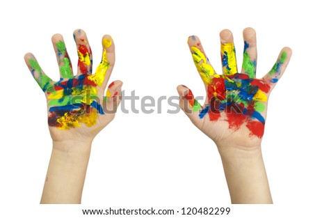 Children's hands painted with colorful paint. White isolated