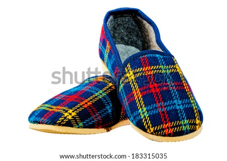 children's home warm slippers for winter - stock photo