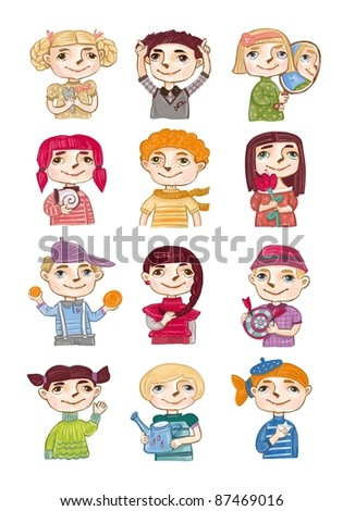 Children's horoscope, icons of zodiac signs - stock photo