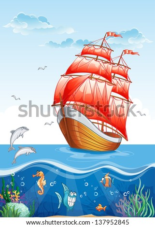 Children's illustration of a sailboat with red sails and the underwater world. Raster copy. - stock photo
