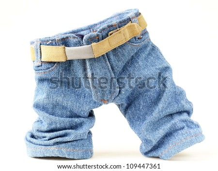 Children's jeans,  stylish and funny on a white background