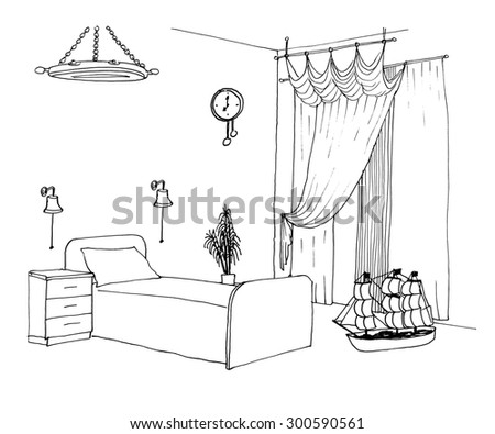 Children's, kids boys room graphical sketch of an interior, liner - stock photo