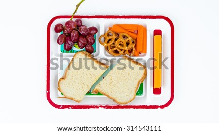 Children's Lunch on a Plate - Sandwich with Grapes, Carrots, Pretzels, and Cheese. - stock photo