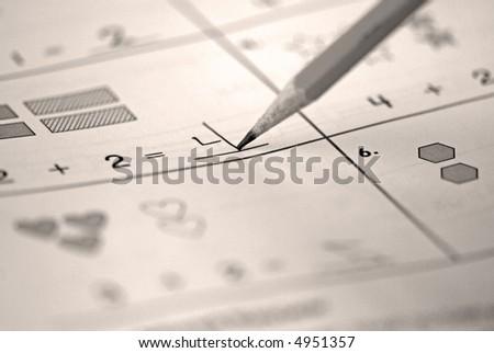 Children's Mathematics Exercise - stock photo