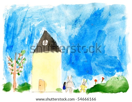 Children's paint house - stock photo