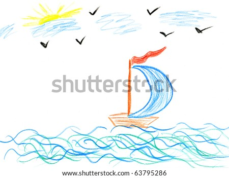Children's paint ship in sea - stock photo