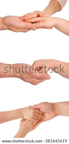 Children's palms in a reliable man's hand - stock photo