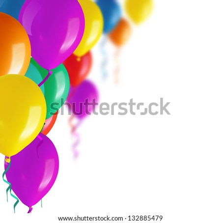 Children's party colorful balloons - stock photo