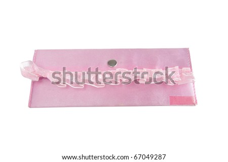 Children's pink purse with a lace on a white background