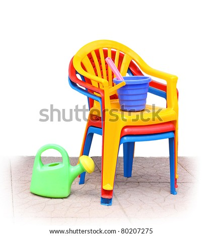 children's plastic chairs - stock photo
