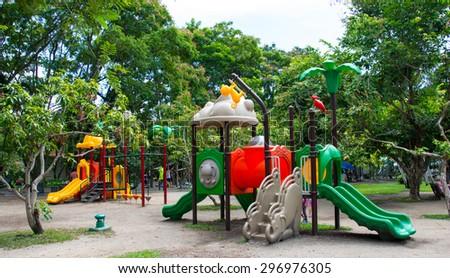 Children's playground at public park - stock photo