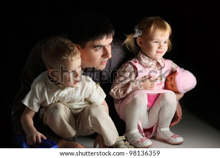 children's portrait of a brother and sister in a children's game - stock photo
